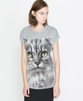 2014 New Fashion Animal Print T-shirt  Women's Short Sleeve O-neck Cat Tops Plus Size TS-253