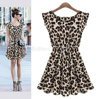 New Spring 2014 Women Casual Dress Leopard Print Skirt Summer Dresses Woman Ruffles Party Sexy Mini Dresses Women Clothing S289
