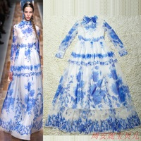 2014 women's fashion vintage long dress girl print dress brand party evening elegant silk full dress one-piece maxi dresses