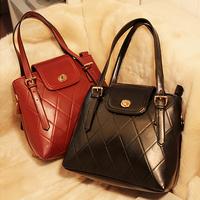 2014 women's fashion handbag dimond plaid bucket bag vintage messenger bags free shipping