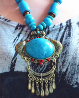 New Arrival new 2014 fashion brand Trend bohemia national tibetan silver beeswax turquoise big wood bead tassel necklace