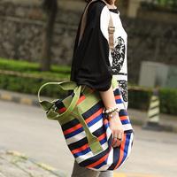 2014 spring large canvas casual bags one shoulder cross-body stripe print quality women's handbag