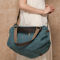 14 spring canvas genuine leather patchwork shoulder one large capacity bag handbag cross-body national women's trend casual