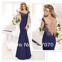 2014 Free Shipping Tarik Ediz Mermaid Cap Sleeve Royal Blue Crystal Sequins Formal Evening Gowns Floor Length Wome Party Dresses
