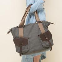 Fashion unisex vintage cowhide pocket canvas casual big bag one shoulder cross-body canvas big bag travel bag