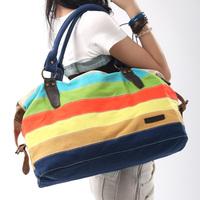 Women's handbag 2014 stripe color block canvas casual big bag all-match elegant work bag travel bag