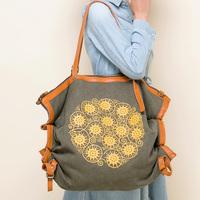 Canvas cowhide large bag vintage messenger bag casual bag for women