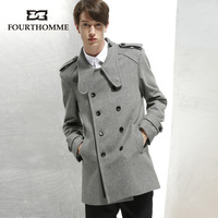 Fourthomme2013 dark gray wool overcoat male british style double breasted overcoat male
