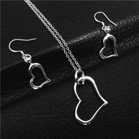 Hot  Promotion 925 Fashion Silver Plated Jewelry sets Necklace Earrings Heart 18inch Women  Freeshipping Factory Direct Sale
