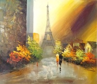 cityscape paris oil painting on canvas contemporary art signed