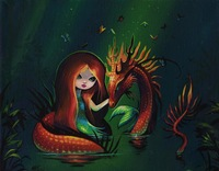 "Mermaid Dragon Fantasy original 8"" x 10"" canvas painting art NICO"