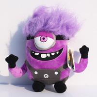 Despicable ME 2 Minions Purple Evil Plush Doll Toy Retail 1 pcs 7.5 inch Free Shipping