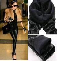 Hot pop Fleece Lined Thick Matt leather Sexy Leggings Fur winter Pants