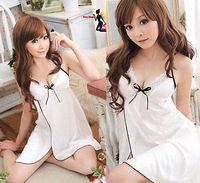 White Sexy Women Satin Lace Robe Sleepwear Lingerie Nightdress G-string Pajamas
