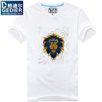Slim t-shirt o-neck wow lion head basic short-sleeve shirt