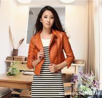 2014 Korean Fashion Woman Leather Jacket  Casual Slim Long-Sleeved Leather Jacket Short Coats Orange Leather Jacket Coat FREE