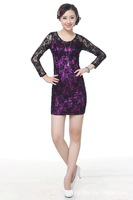 Free Shipping exquisite China Cheongsam dress, women fashion lace dress China Style E0018
