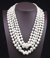 2014 New Arrival Costume Jewelry Multilayer White Pearl Necklace
