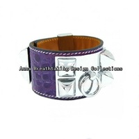 Exquisite Designer Purple Croc Leather Rivets Bracelet,Genuine Leather With Silver Rivets,Women's Dreaming Leather Wrap Bracelet
