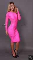2014 new fashion sexy club dress,Spring plus size bandage dress,Pink Posh bandage dress celebrity dresses have stocking