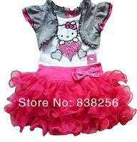 New 2014 Retail beautiful Girl Dresses hello kitty Princess Dresses Children dress tutu dress free shipping