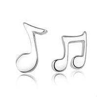 High Quality 2014 New Arrival Fashion Cute Lovely Musical Note 925 Sterling Silver Stud Earrings for Women Girls Earring Jewelry