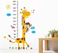 Holiday Sale Free Shipping New Giraffe Kids Growth Chart Height Measure Wall Sticker For Kids Rooms/ DIY home Decoration LM8004
