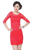 Free Shipping exquisite China Cheongsams dress, women fashion  lace dress China Style E0017-C