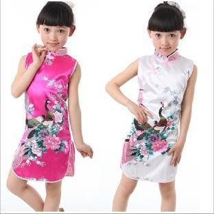 2014 children dress peacock pattern Girl's Charmeuse Chinese Dress cheongsam kids dress Performance clothing(China (Mainland))