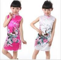 2014 children dress peacock pattern Girl's Charmeuse Chinese Dress cheongsam kids dress Performance clothing