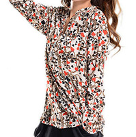 New Arrival Spring 2014 Hot Sell Women Fashion European Sexy V-Neck Cotton Shirt Women's Retro Casual Printed Blouses