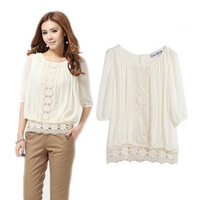 New Arrival Spring 2014 Hot Sell Women Fashion Sweet Lace Crochet Chiffon Blouse Ladies Floral Embroidery Blouses Shirts