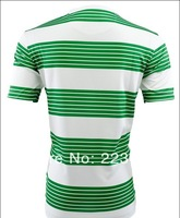 Top quality green white striped tshirt uniform set custom team soccer training fc shirt short sleeve football men club sport kit