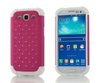 30pcs/lot hybrid glittering back diamond cover shockproof case for samsung galaxy s3 i9300,rhinestone case,Freeshipping