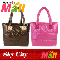 New Arrival 2014 Colorful Fashion Winter Women Down Bag Women Handbag Bag Lady Shoulder Handbag Leisure Feather Totes
