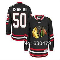 2014 newest stadium series men's chicago blackhawks#50 Corey Crawford black ice hockey jersey/shirt