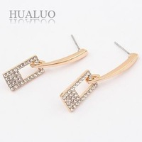 Top Quality 2014 New Fashion Hollow Rectangle Filled Rhinestone Shiny Earrings For Women E1189