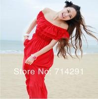 hotting sale Bohemia chiffon white beach O-neck full dress ultralarge one-piece dress