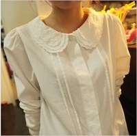 Spring white peter pan collar shirt female long-sleeve shirt small fresh 100% cotton basic shirt