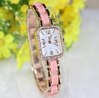 Rectangle Ceramic Watch Rose Gold  Crystal Dial Women Dress Watches  King Girl 9351 Quartz Analog