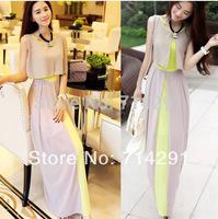 hot sale summer women's chiffon long dress slim waist full dress bohemia beach dress free shipping
