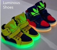 2014spring/autumn fashion boy and girls breathable sport shoes,kids luminous casual shoes, High quality running shoes