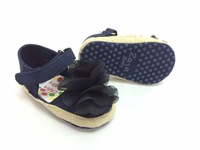 baby shoes gauze flower navy girl's first walkers
