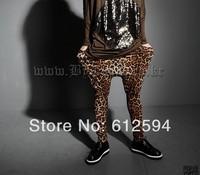 New men leopard harem pants male baggy drop crotch hip hop dance street outdoor stylish tapered sweatpants skinny plus size
