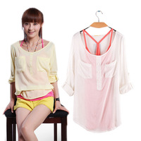 Euro Fashion Loose Casual Short Sleeve T-Shirts Women's chiffon Tops ( Tank + T shirt) CB0303C