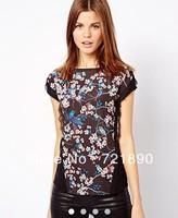 2014 Fasion European Style women Spring Summer Thin Chiffon Lace Bird Flower Print Blouse Shirt