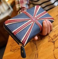 2014 new hot selling! Long style bags for female European and American designed wallet with big word flag Korean purse wallet