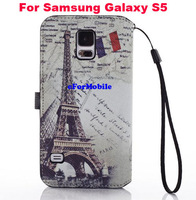 2014 New Wallet Book Case Leather Case + Screen Protector  For Samsung Galaxy S5 GS 5 I9600