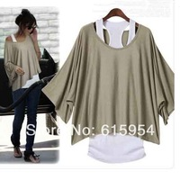 plus size 2014 loose batwing sleeve Top T-shirt + Tank  Vest  Comfortable  2 in 1 100% cotton Off the Shoulder
