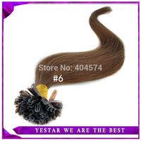 "18""20""22""24""  Fusion Pre bond Keratin Nail Hair Extension (U-Tip), Indian Virgin Remy Hair 0.5g/s #6 100pieces/lot Tangle Free"